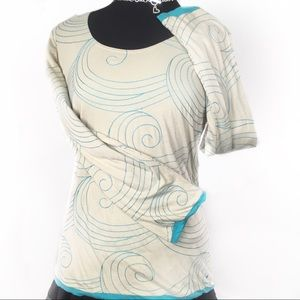 NWT Tori Richard tan/blue long sleeve top-L